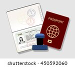 passport with visa stamp.... | Shutterstock .eps vector #450592060