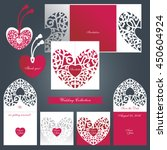 wedding  set.  lacy heart with... | Shutterstock .eps vector #450604924