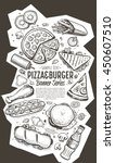 banner with fast food hand... | Shutterstock .eps vector #450607510