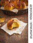 homemade pumpkin bread buns....   Shutterstock . vector #450610639