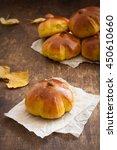 homemade pumpkin bread buns....   Shutterstock . vector #450610660