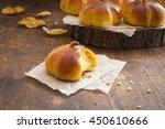 homemade pumpkin bread buns....   Shutterstock . vector #450610666