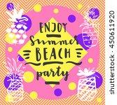 enjoy summer beach party.... | Shutterstock .eps vector #450611920