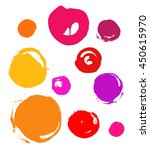 set of colorful circles  brush... | Shutterstock .eps vector #450615970