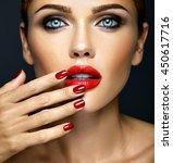 closeup portrait of sensual...   Shutterstock . vector #450617716
