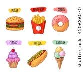 fast food. set of cartoon... | Shutterstock .eps vector #450636070