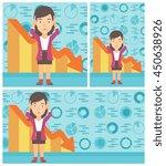 female bankrupt clutching her... | Shutterstock .eps vector #450638926