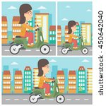 woman riding a scooter on a...   Shutterstock .eps vector #450642040