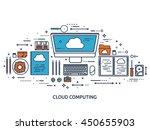 cloud computing flat outline... | Shutterstock .eps vector #450655903