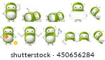 set of green robots holding... | Shutterstock .eps vector #450656284