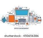 workplace in office with table... | Shutterstock .eps vector #450656386