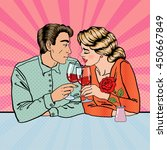 Romantic Couple With Glasses Of ...