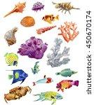 watercolor set of sea life... | Shutterstock . vector #450670174