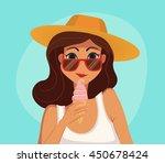 summer girl eating a ice cream. ... | Shutterstock . vector #450678424
