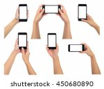 female holding smart phone 6... | Shutterstock . vector #450680890