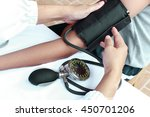 close up of doctor hands... | Shutterstock . vector #450701206