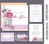 set of wedding cards with red... | Shutterstock .eps vector #450701440