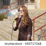 Small photo of Belarus, Bobruisk district, Sept. 01: Alumna of the senior class sings a song, September 1, 2015 in Bobruisk district, Belarus.