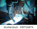 welding robots movement in a... | Shutterstock . vector #450726874