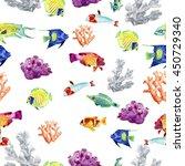 seamless pattern sea life.... | Shutterstock . vector #450729340