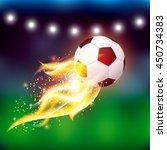 soccer football ball with fire... | Shutterstock . vector #450734383