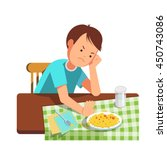 a little boy refusing food  kid ... | Shutterstock .eps vector #450743086