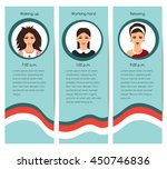 young girl lifestyle cards set. ... | Shutterstock .eps vector #450746836