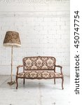 brown vintage sofa and lamp on... | Shutterstock . vector #450747754