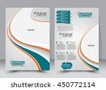 Abstract flyer design background. Brochure template. Can be used for magazine cover, business mockup, education, presentation, report. a4 size with editable elements. Orange and green color. | Shutterstock vector #450772114