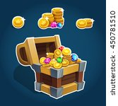 set of golden coins in chest ...