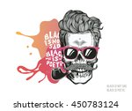 skull. hipster silhouette with...