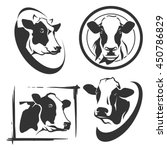 cow head labels set | Shutterstock .eps vector #450786829