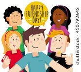 friendship day  multicultural... | Shutterstock .eps vector #450792643
