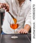 barman at work  preparing... | Shutterstock . vector #450802870