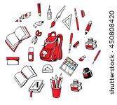 vector set   backpack  books ...   Shutterstock .eps vector #450808420