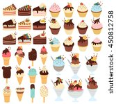 huge cute set of cupcakes ... | Shutterstock .eps vector #450812758