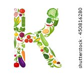 k letter from vegetables. | Shutterstock .eps vector #450816280