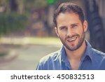 happy young man. closeup...   Shutterstock . vector #450832513
