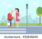 smiling woman takes care of old ... | Shutterstock .eps vector #450838600