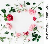 Stock photo round frame wreath pattern with roses pink flower buds branches and leaves isolated on white 450852658
