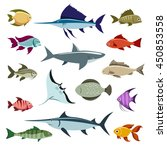 colored fish vector icons set... | Shutterstock .eps vector #450853558