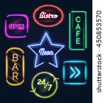 coffee open and bar food neon... | Shutterstock .eps vector #450853570