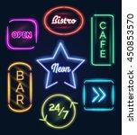 coffee open and bar food neon... | Shutterstock .eps vector #450853570