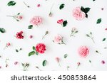 roses and chamomiles pattern... | Shutterstock . vector #450853864