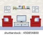 interior of living room in flat ... | Shutterstock .eps vector #450854800