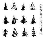 Christmas Tree Icon Brush Hand...
