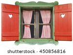 colorful wooden chalet window... | Shutterstock . vector #450856816