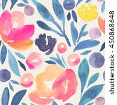 seamless watercolor floral... | Shutterstock . vector #450868648