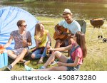 cheerful young people making... | Shutterstock . vector #450873280