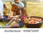 happy students having fun in... | Shutterstock . vector #450873349